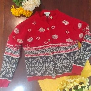 Eddie Bauer Wool Alpaca Button Christmas Sweater